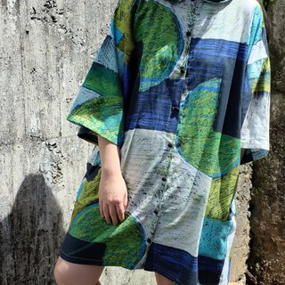 Green Elf Geometric Lines Wide Edition Shirt Dress