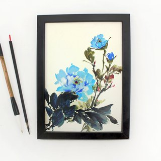 Hand-painted painting water blue peony Chinese painting ornaments (with picture frame)
