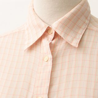 Retro Japanese Made Sweet Cute Pink Orange Plaid Plaid Vintage Shirt