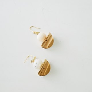 17 Autunm -Geometric Granite Earring- wooden and long