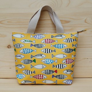 Colored fish zipper tote bag _ yellow