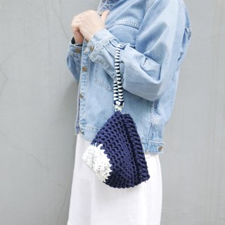 Duo Color Triangle Handbag, crochet, knit, handmade (Inked / Navy)