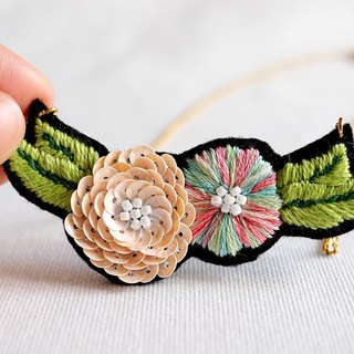 Glow with Pink Sequin and Embroidery Flower Bib Necklace