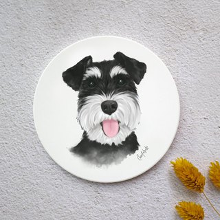 Watercolor style pet portrait coaster (Schnauzer - Black)