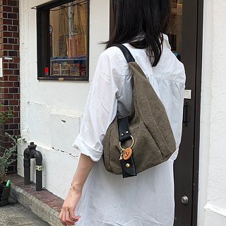 polta mini - Olive tannin dye canvas × leather bag