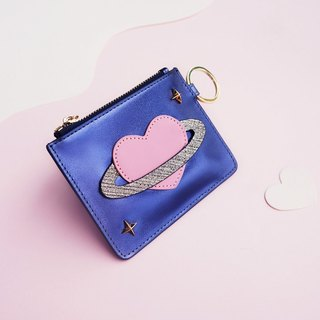 <Izzmi> Metal Blue Dream Girl Heart Planet Card Mini Card Pack Ultra Thin Head Cream
