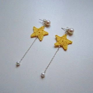 Meteor shower weaving stars pearl stud earrings