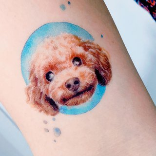 Poodle Doggie Pet Dog Puppy Paw Watercolor Temporary Tattoo Stickers Cute Animal