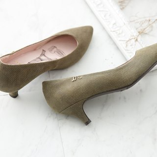 Athena- Wen Qingqiu Hong green - fine velvet flu pointed leather low heels