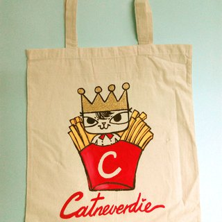 Hong Kong design French Fries King cat hand drawing tote bag/ canvas