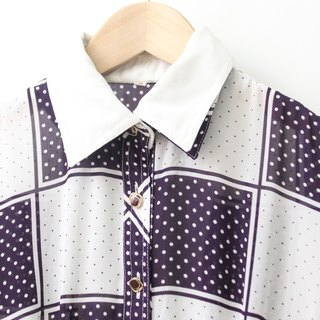 【RE1004D1444】 early autumn Japanese system retro purple lattice dots short-sleeved ancient dress