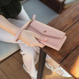 AVA (Nude pink) : long wallet, Nude pink wallet , cow leather wallet