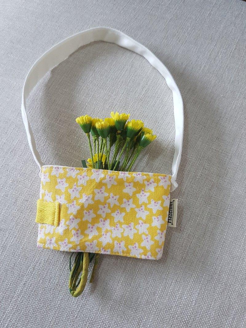 手工做北歐黃色花花風格環保飲料提袋
