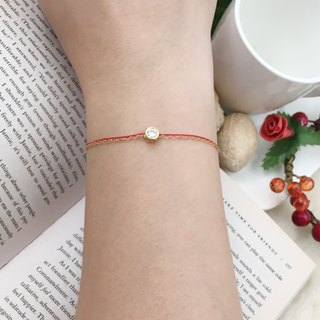 Chain rope red line bracelet gold round package diamond single diamond design marriage month old happiness line
