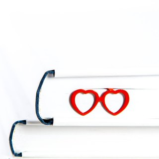 Metal Book Bookmark Heart Shaped glasses laser cut metal powder coated RED Stylish unique gift for book lover Free shipping