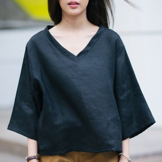 V-Neck Linen Shirt - Back To Black
