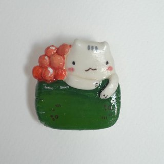 Sushi cats polymer clay brooch