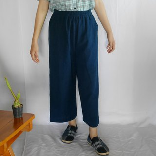 hand-woven cotton fabric long pants (dark indigo)