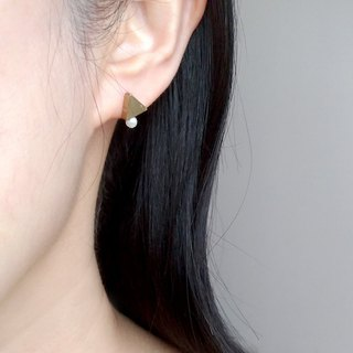 E090 combination 2-brass pearl earrings