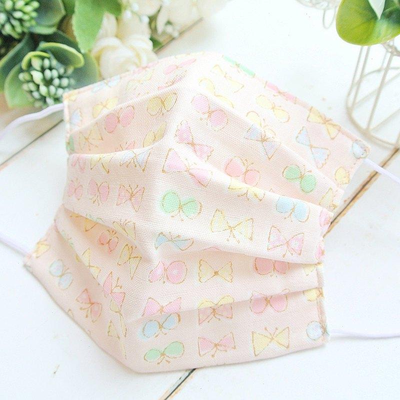 蝶々 粉紅色 手工立體口罩 可洗滌 日本製純棉二重紗布 成人
