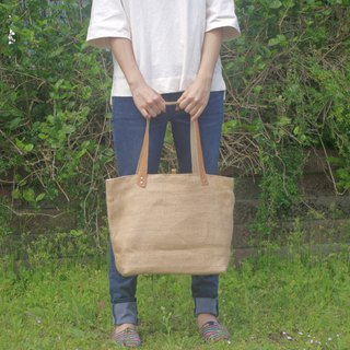 Absolute value-----Classic tote bag linen leather bag