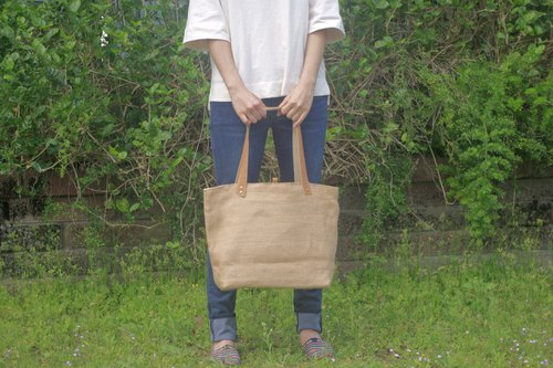 Absolute value ----- classic tote bag yellow linen