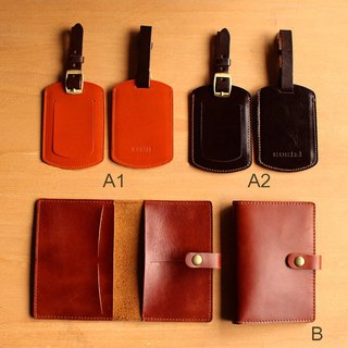 Goody Bag - Passport case + Luggage Tag -- 2 pcs./set Geunine Cow Leather / 护照夹