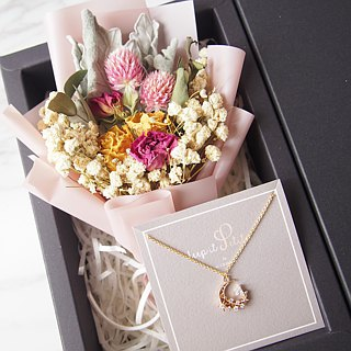 [Warm bouquet gift set]: Mini dry bouquet (pink) + [Six-pointed star necklace]
