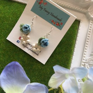 *My Fancy Handmade*crochet blue rose earring