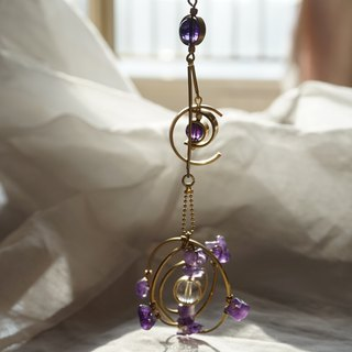 Streamer Broken Star's glory single earrings vintage amethyst earrings exaggerated original super fairy