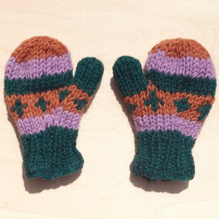 Limited Christmas gift a knitted pure wool warm gloves / gloves for children / child gloves / bristles gloves / knitted gloves / mittens - taro colorful stripes