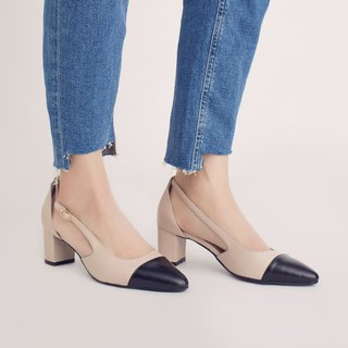 Elegant micro-tip! Tiramisu two-tone heel shoes black × rice full leather MIT Oreo