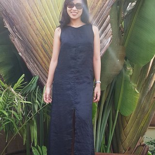 Classic Black Linen Maxi Dress | Long Dress