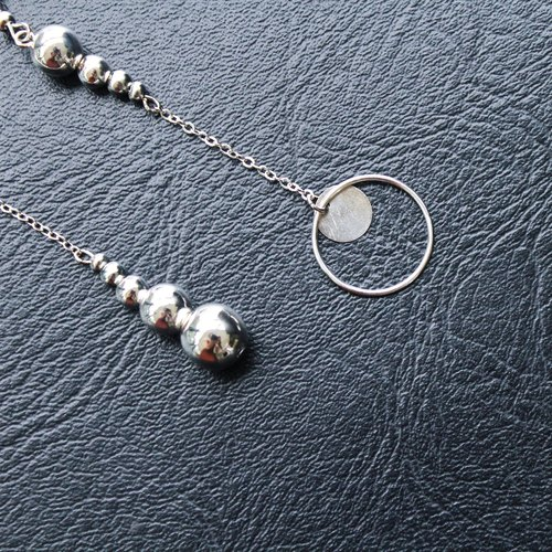 [Da Da Daily] Minimalism silver circle long earrings