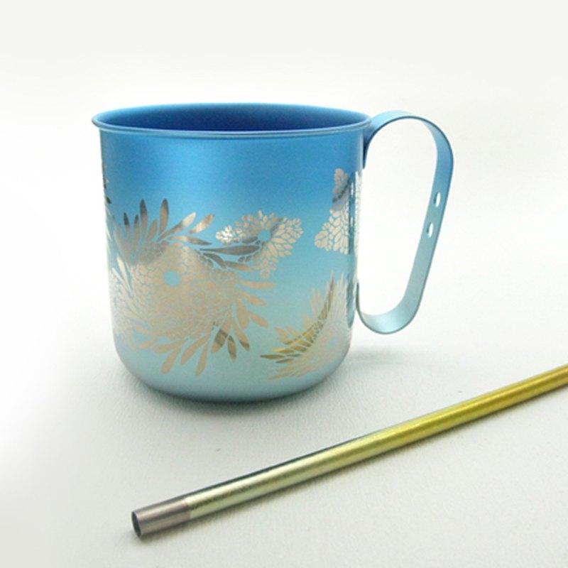 日本製 Horie 鈦愛地球組合-純鈦馬克杯-燦藍菊+純鈦吸管-禾穗黃