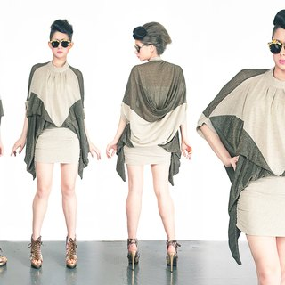 TIMBEE LO X black gold silver bat sleeve dresses wider at the legs miniskirt dew paragraph
