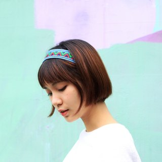【The MAMA's Closet】Rubik's Cube(Fluorescent) / Denim with Ribbon Headband