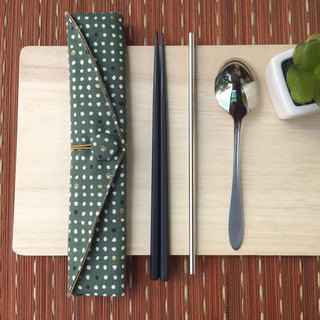 Adoubao-Chopsticks Set Pack - Dark Green & Hot Gold Cat