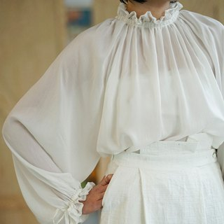 White | Caribbean French Vintage Lantern Sleeve Neck Top Fairy Wind Palace Court