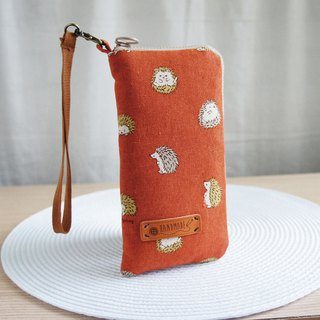 Lovely [Japanese cloth] brick orange ball Hedgehog phone bag, double storey cotton, 5 吋 half available