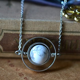 Spinning little planet with marble stone necklace