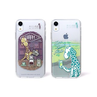 Mr.giraffe キリンAll soft plastic border transparent phone case (iPhoneXR)