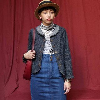 Pumpkin Vintage. Ancient little lotus leaf sleeve denim jacket