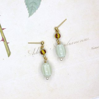 Autumn incense handmade glass pearl earrings  ear clip