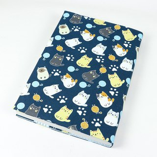 A5 cloth cover mother's manual cloth cover cloth book clothing - circle cat (blue)