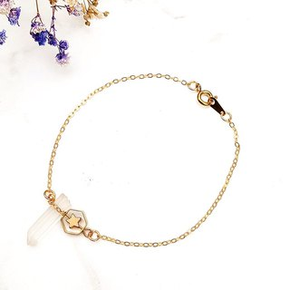<Pure Star> White crystal original stone brass plated 16K gold bracelet original stone hand creation personality minimalist geometry