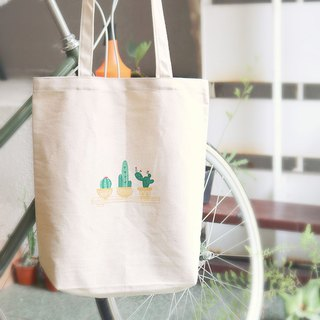 Three pots of cactus _ canvas bag / handmade screen printing