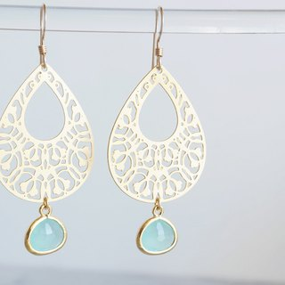 【14KGF】Earrings,Filigre Teardrop (Small)-Bohemian,Mint Green-