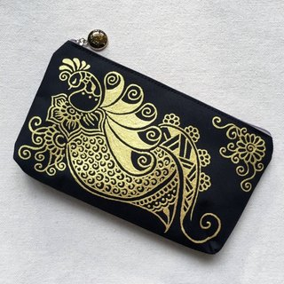 Hand Painted Henna bag Mandala bag Gold Black Pattern Zipper Pouch Coin Purse Cotton Cosmetic Bag Pencil Case Phone Wallet Hand Drawn Art