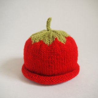 Hand Knit Strawberry beanie for 0-3-year-old